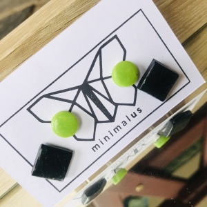 Green Black  Shapes Polymer Clay Earrings
