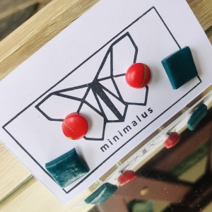 Red Green Shapes Polymer Clay Earrings