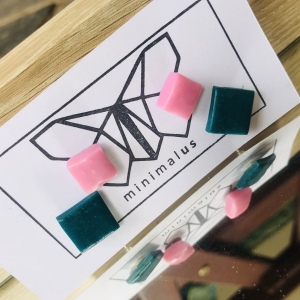 Pink Green Shapes  Polymer Clay Earrings