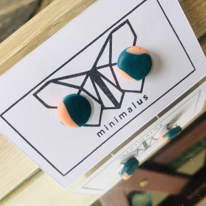Pink Green Polymer Clay Earrings
