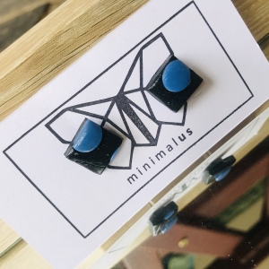 Black Blue Polymer Clay Earrings