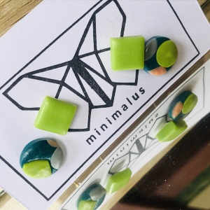 Green Shapes Polymer Clay Earrings