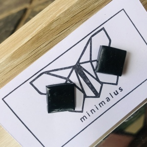 Black Square Polymer Clay Earrings
